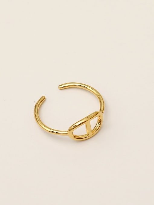 14k Gold Brass Geometric Minimalist Band Ring