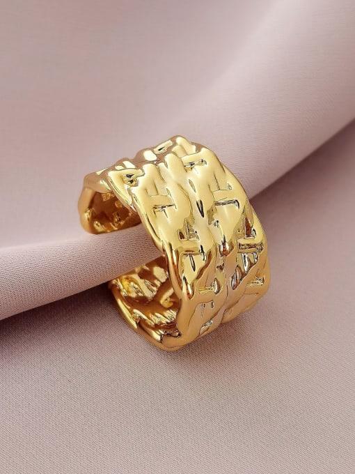 HYACINTH Brass Irregular Geometric Vintage Band Ring 0