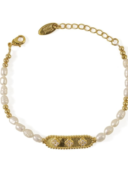 ACCA Brass Freshwater Pearl Flower Vintage Bracelet 3