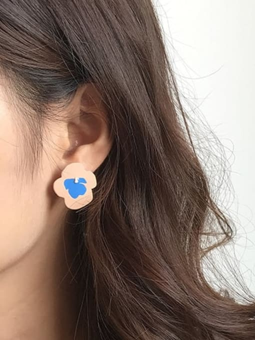 Five Color Alloy Enamel Irregular Cute Stud Earring 1