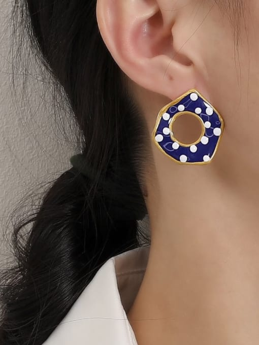 HYACINTH Brass Enamel Geometric Minimalist Stud Earring 1