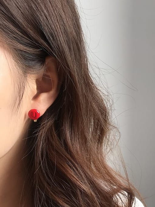 Five Color Alloy Enamel Letter Minimalist Stud Earring 1