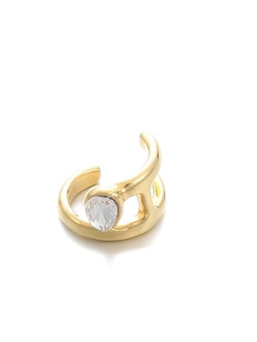 Gold ( Single) Brass Cubic Zirconia Water Drop Hip Hop Single Earring