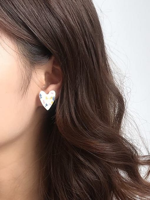 Five Color Alloy Acrylic Heart Cute Stud Earring 1