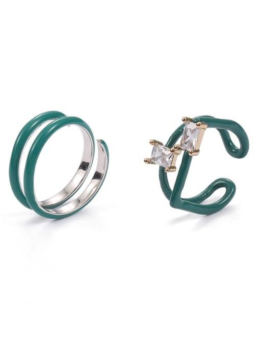 Five Color Zinc Alloy Enamel Geometric Minimalist Stackable Ring 0