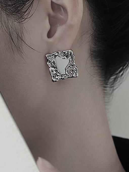 TINGS Brass Shell Geometric Hip Hop Stud Earring 1