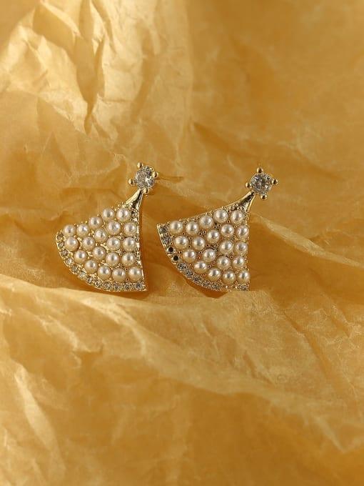 14k Gold Brass Imitation Pearl Triangle Bohemia Stud Earring