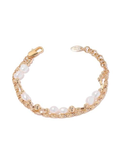 golden Brass Imitation Pearl Geometric Hip Hop Strand Bracelet