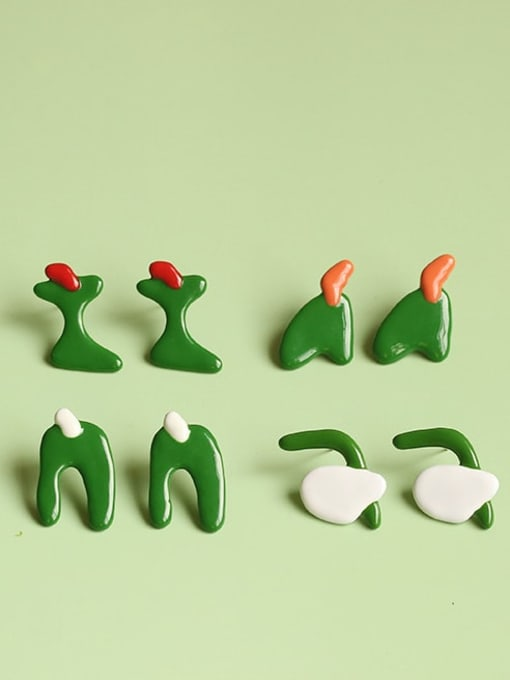 Five Color Alloy Enamel Cute Individuality abstract lines contrast color  Single Earring 0