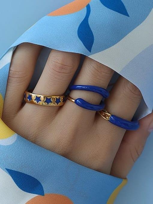 Five Color Brass Enamel Star Minimalist Band Ring 1