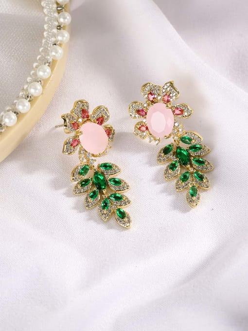 Pink Jade Brass Cubic Zirconia Flower Luxury Drop Earring
