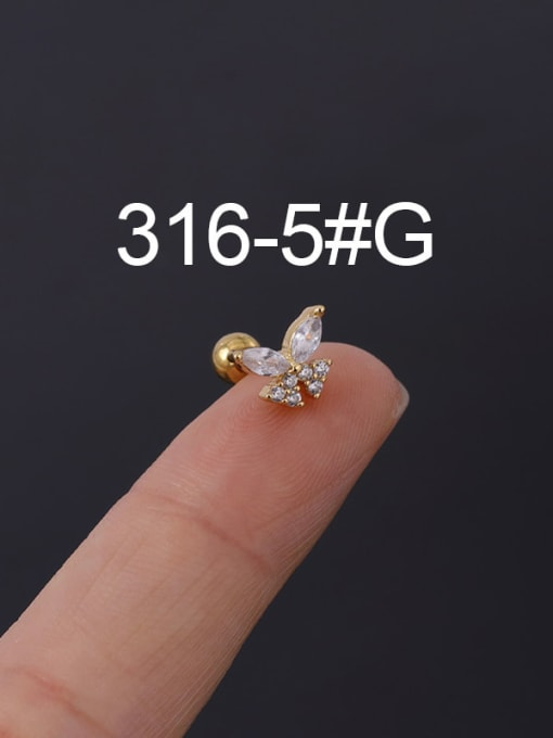 5G Stainless steel with Cubic Zirconia Ear Bone Nail/Puncture Earring
