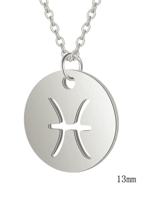 Pisces steel Titanium Steel Constellation Minimalist  Round Pendant Necklace