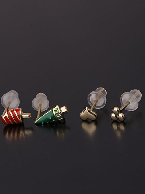 yellow Christmas set Brass Cubic Zirconia Enamel Heart Cute Single Earring