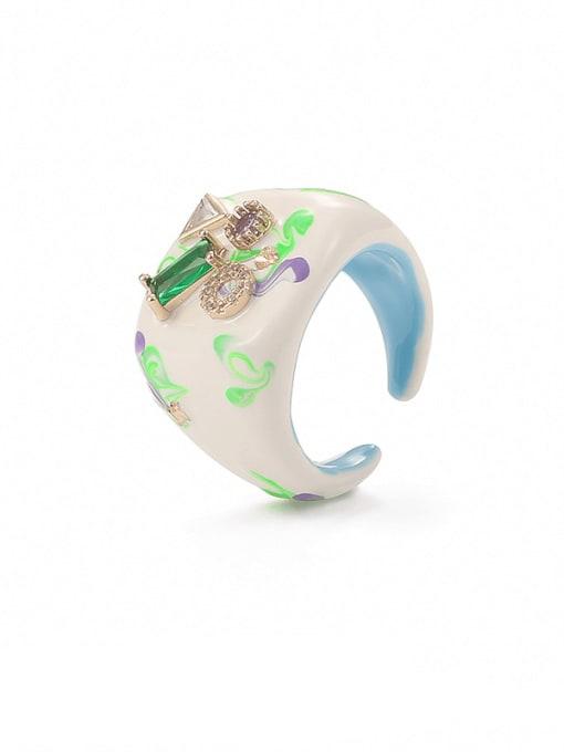 Contrast ring Zinc Alloy Enamel Geometric Minimalist Band Ring