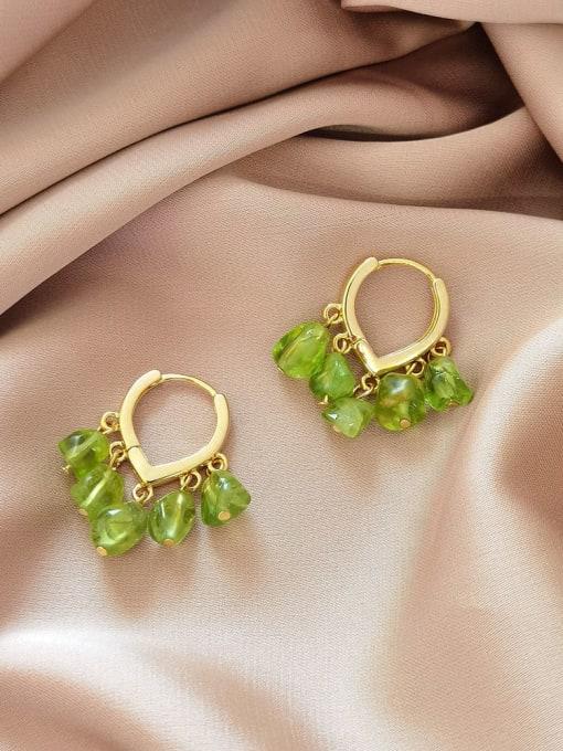 HYACINTH Brass Peridot Heart Vintage Huggie Earring 0
