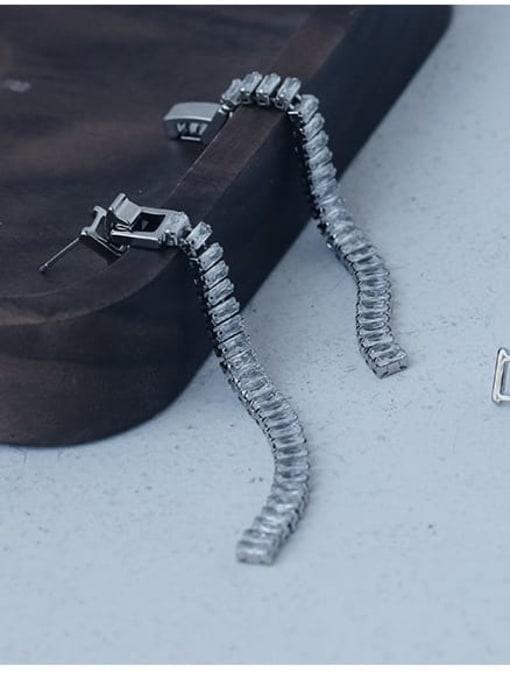 TINGS Brass Cubic Zirconia Tassel Minimalist Drop Earring 2