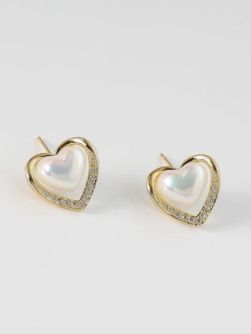 14k Gold Brass Imitation Pearl Heart Minimalist Stud Earring