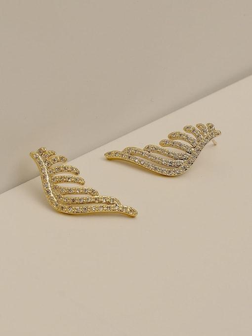 14k Gold Brass Cubic Zirconia Wing Vintage Stud Earring