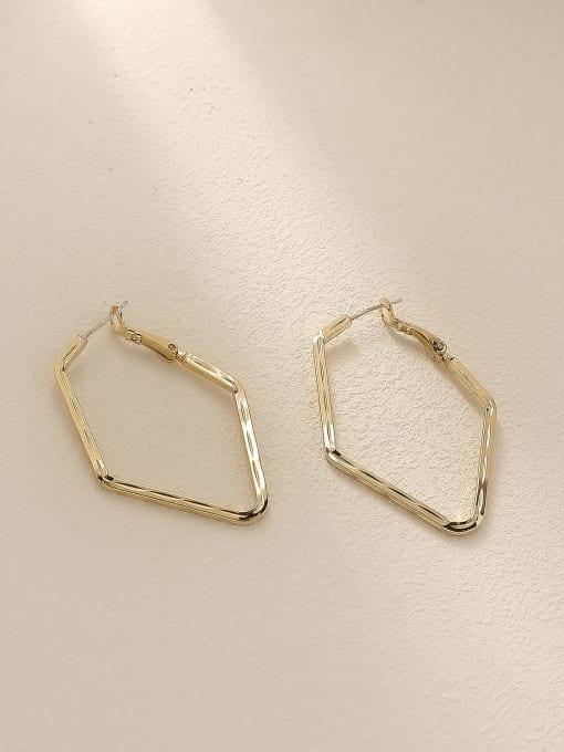 HYACINTH Brass Geometric Minimalist Huggie Trend Korean Fashion Earring 0