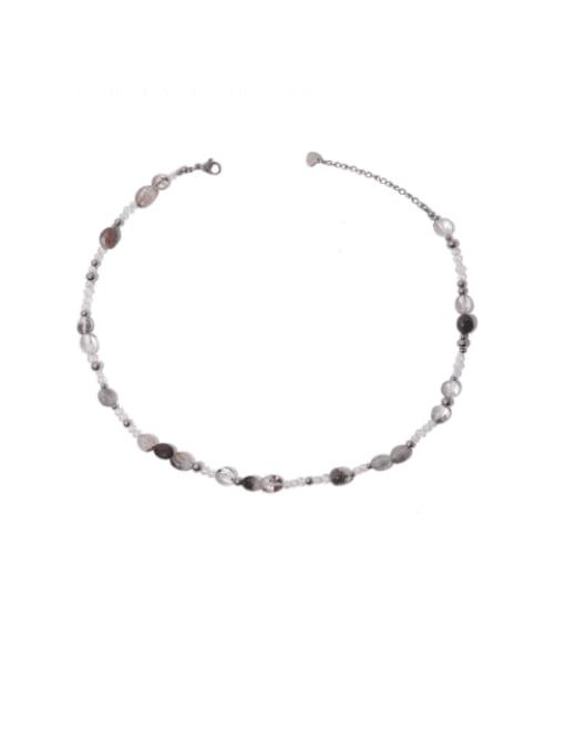 Crystal necklace Brass Imitation Pearl Irregular Hip Hop Necklace
