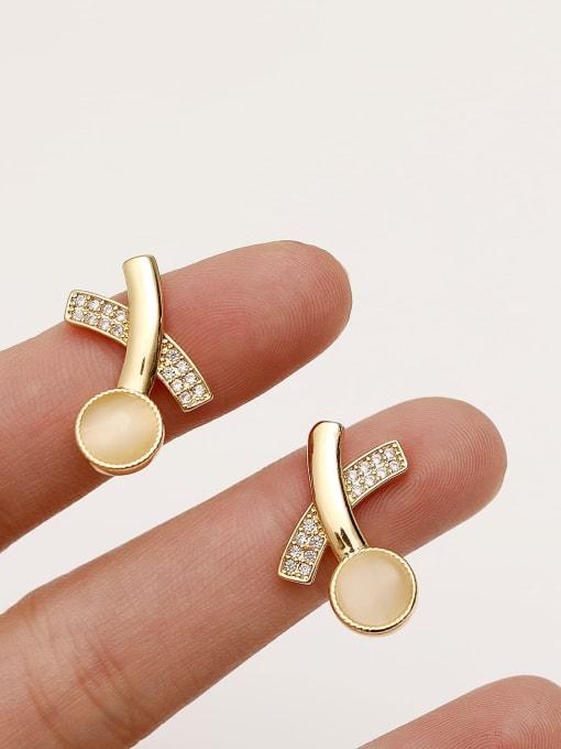 HYACINTH Brass Cats Eye Geometric Minimalist Stud Earring 3