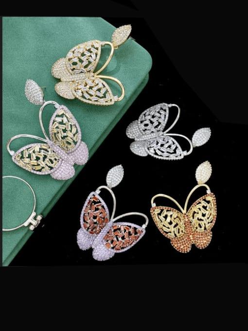 SUUTO Brass Cubic Zirconia Butterfly Vintage Stud Earring