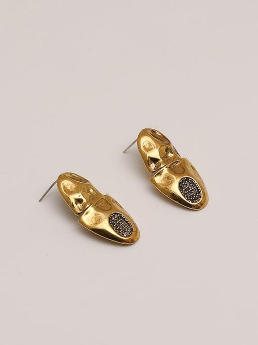 HYACINTH Brass Rhinestone Geometric Vintage Stud Earring 4