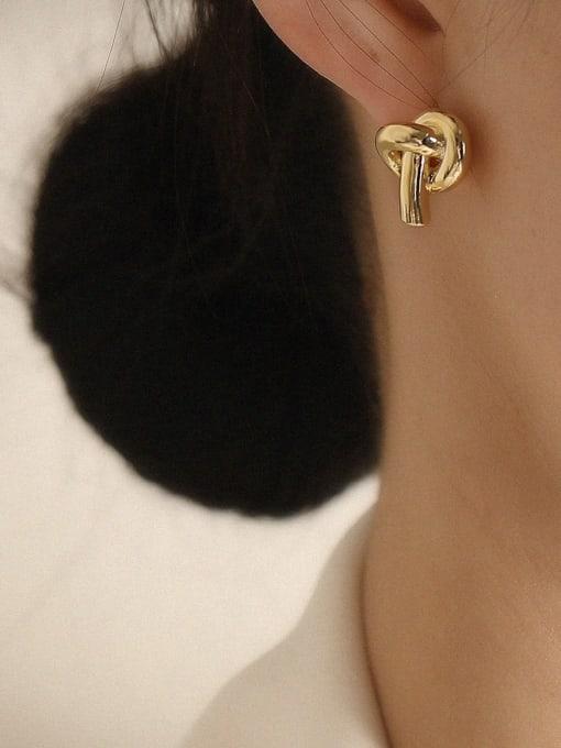 HYACINTH Brass Knot Minimalist Stud Earring 1