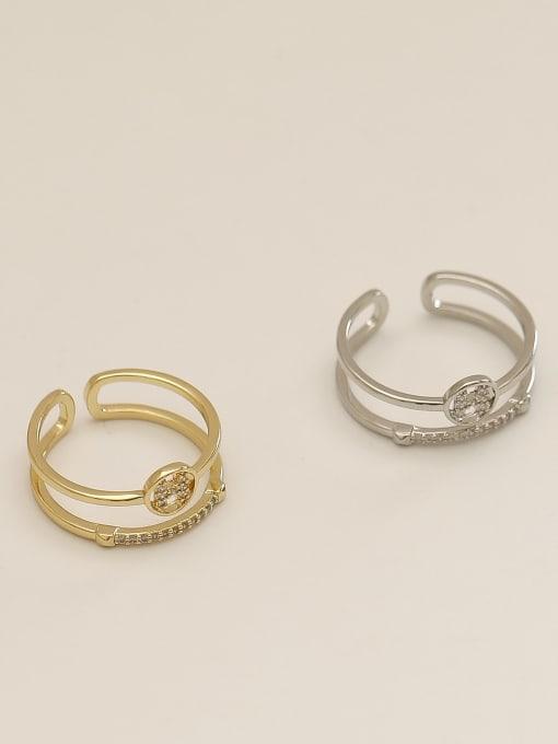 HYACINTH Brass Cubic Zirconia Geometric Vintage Band Ring 0