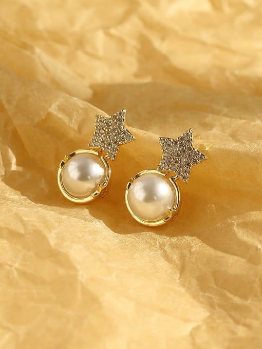 14k Gold Brass Cubic Zirconia Star Bohemia Stud Earring