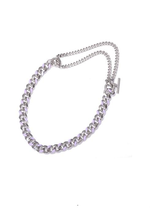Platinum Oil Drop Necklace Brass Hollow Geometric  Chain Vintage Necklace