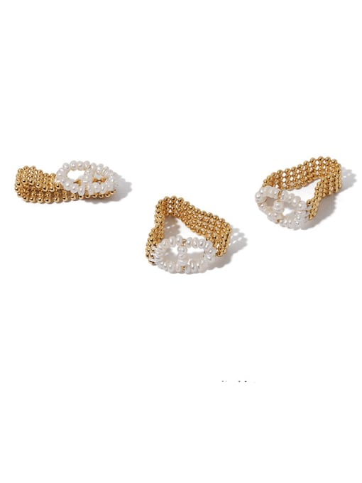 ACCA Brass Freshwater Pearl Geometric Vintage Band Ring 1