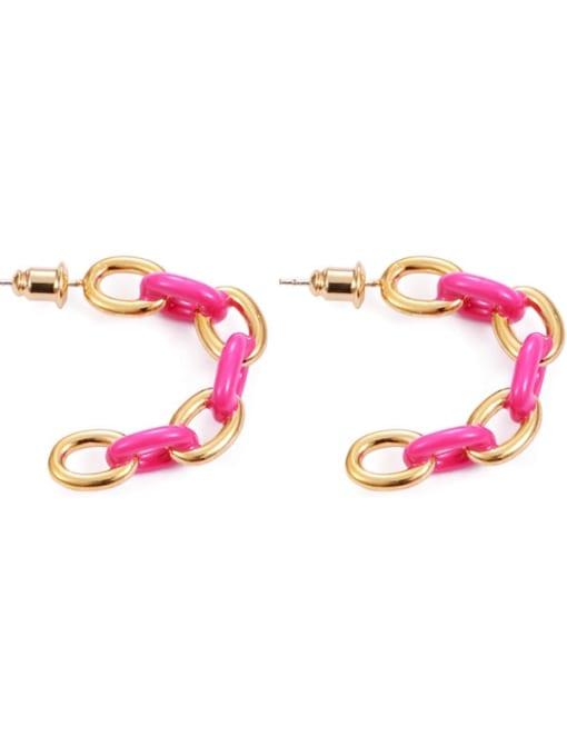 Pink Brass Enamel Geometric Hip Hop Stud Earring
