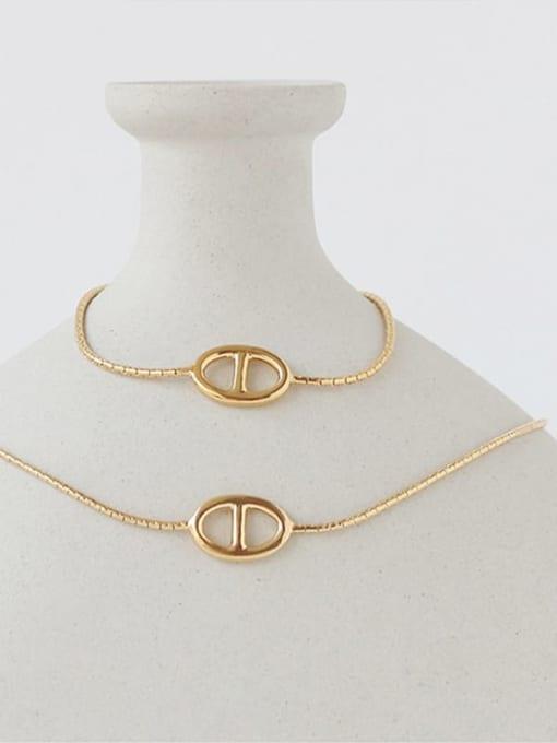 Five Color Brass Geometric Hip Hop Necklace 3