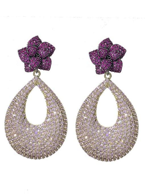 purple Brass Cubic Zirconia Water Drop Bohemia Drop Earring