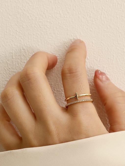 HYACINTH Brass Cubic Zirconia Geometric Minimalist Stackable Ring 0
