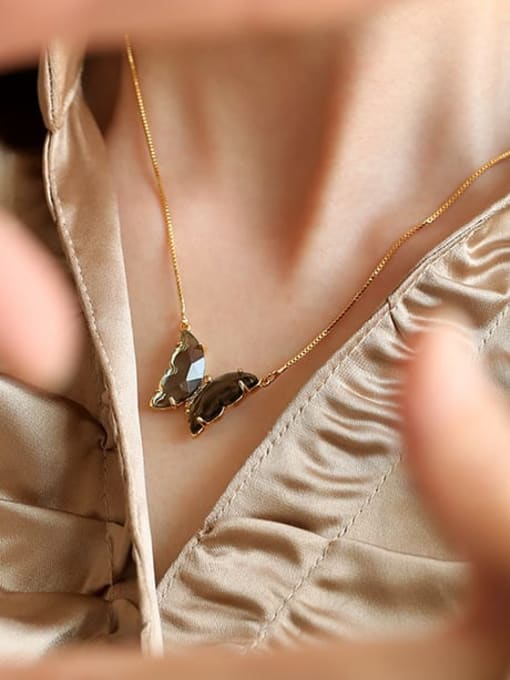 Five Color Brass Cubic Zirconia Butterfly Minimalist Necklace 1