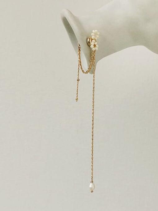 ACCA Brass Freshwater Pearl Tassel Minimalist Threader Earring(single) 2