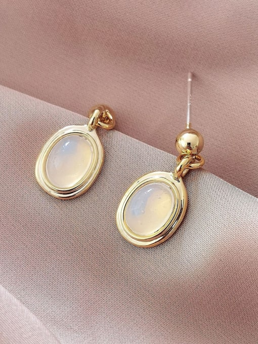 HYACINTH Brass Cats Eye Geometric Vintage Drop Earring 2