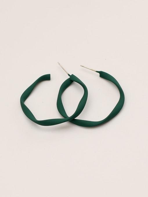 green Brass Enamel Geometric Minimalist Hoop Earring