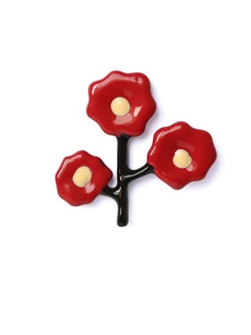 Right ear (sold separately) Alloy Enamel Flower Cute Single Earring