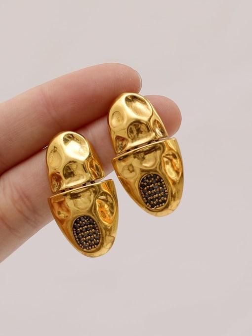 HYACINTH Brass Rhinestone Geometric Vintage Stud Earring 1