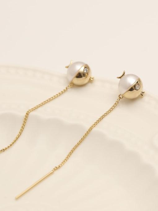 14k Gold Brass Imitation Pearl Tassel Minimalist Threader Earring