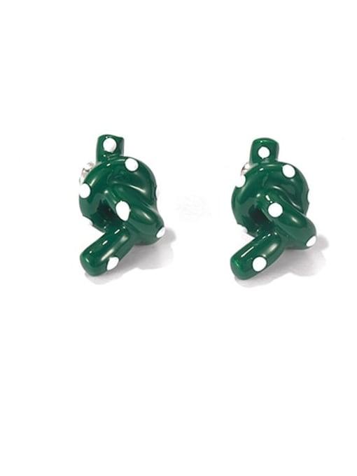 Green wave point Zinc Alloy Enamel Vintage Kont  Stud Earring