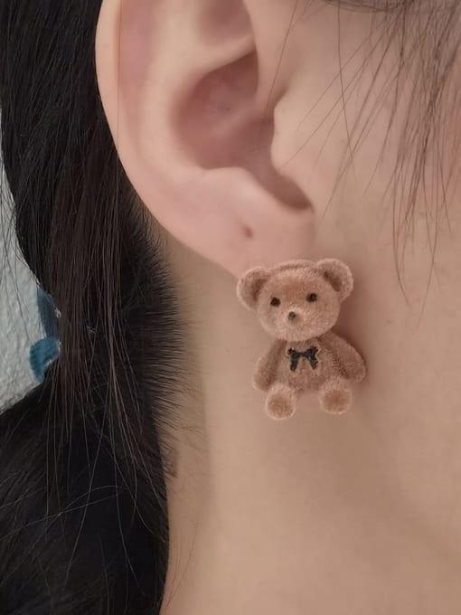 HYACINTH Alloy Flocking Bear Cute Stud Earring 1