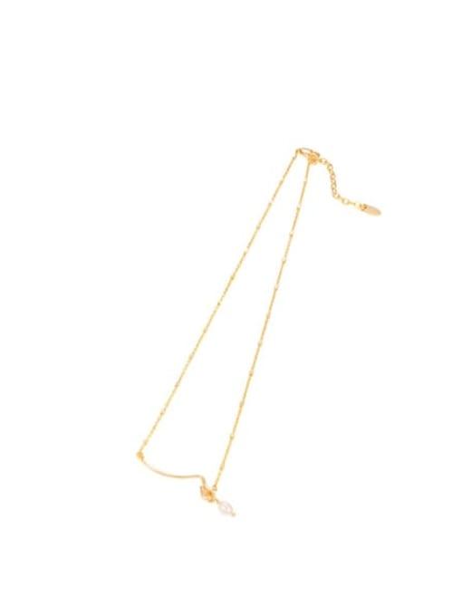 Pearl Necklace Brass Imitation Pearl Geometric Minimalist Necklace