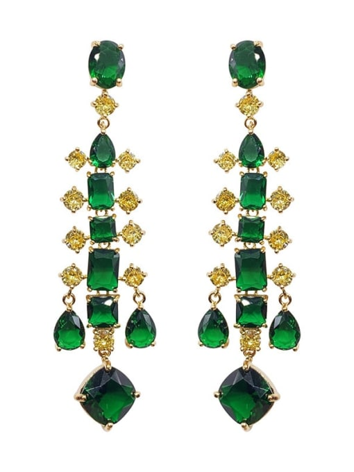 Emerald Topaz Brass Cubic Zirconia Geometric Luxury Drop Earring