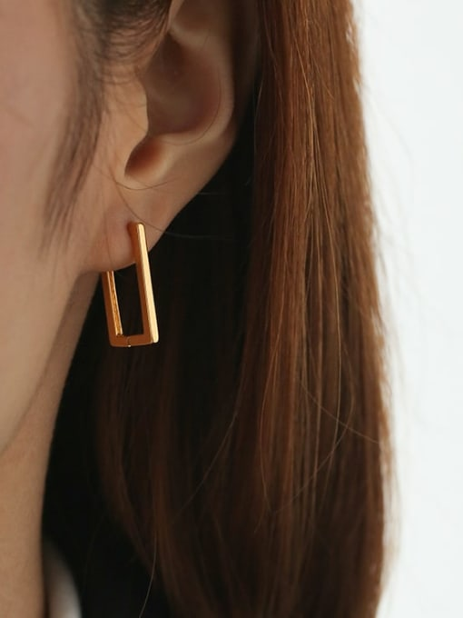 Five Color Brass Hollow Geometric Hip Hop Stud Earring 1
