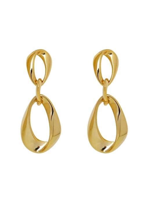 HYACINTH Brass Hollow Water Drop Minimalist Drop Earring 0